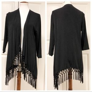 NEW CHICOS TRAVELERS BLACK FRINGE TOP LAYER